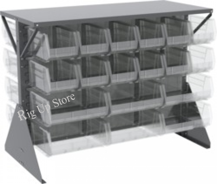 Akro-Mils® Louvered Low Profile Floor Rack, Double-Sided, 36 Clear Bins