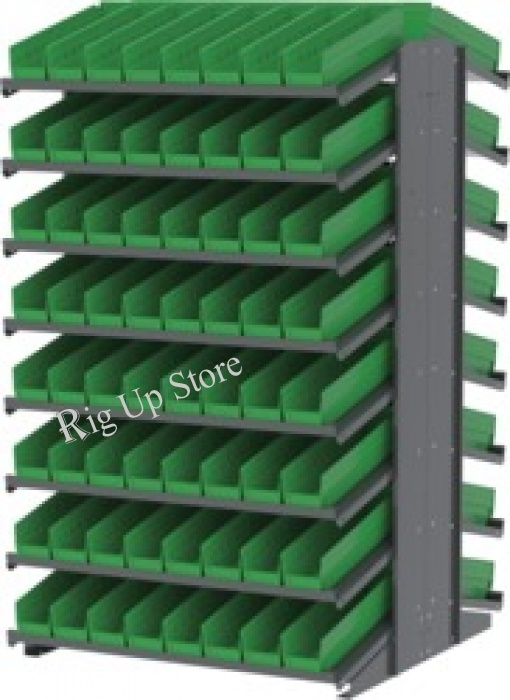 Akro-Mils® Double-Sided Pick Rack, 16 18 Deep Shelves, 132 Green Shelf Bins