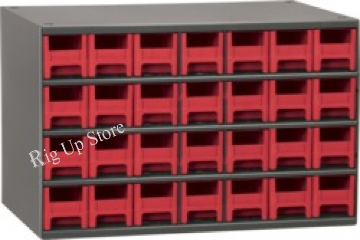 Akro-Mils® Cabinet, 19-Series, 28 Drawer, Red, 17 W x 11 D x 11 H