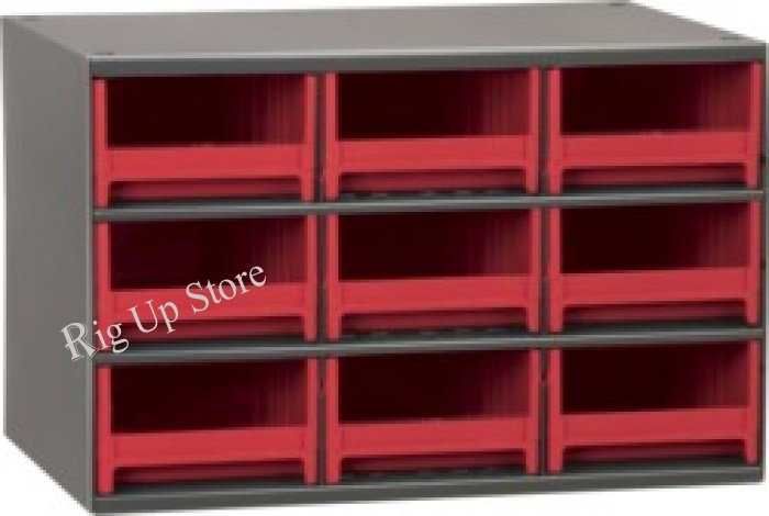 Akro-Mils® Cabinet, 19-Series, 9 Drawer, Red, 17 W x 11 D x 11 H