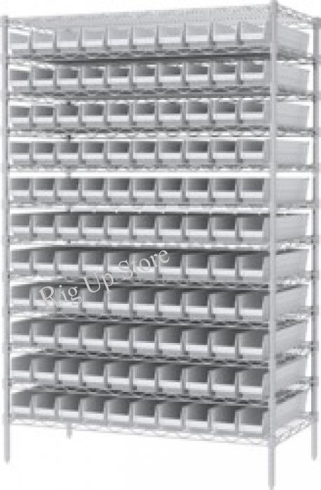 Akro-Mils® Shelf Bin Wire Shelving System, 48 W x 2D x 7H, 120 White ...