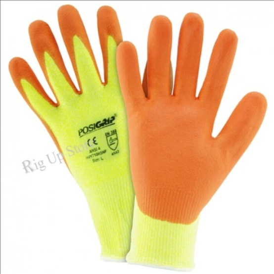 Hi Vis Yellow HPPE Orange Foam Nitirle Palm Coated Gloves